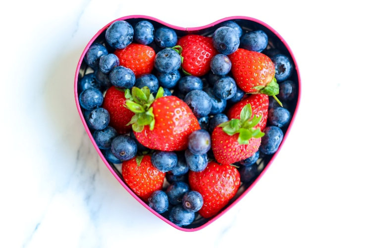 Fruits in heart container